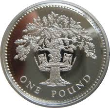 1 Pound - Elizabeth II (English Oak; Silver Proof) - United ...